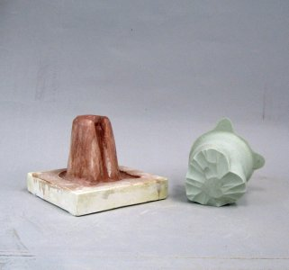 Plaster and Rubber Mold for Heart Hand Cooler (?)