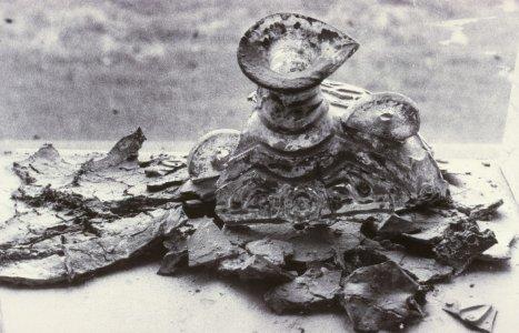 """""""Islamic Pilgrim flask with dissolved plaster restoration"""" [slide]."""