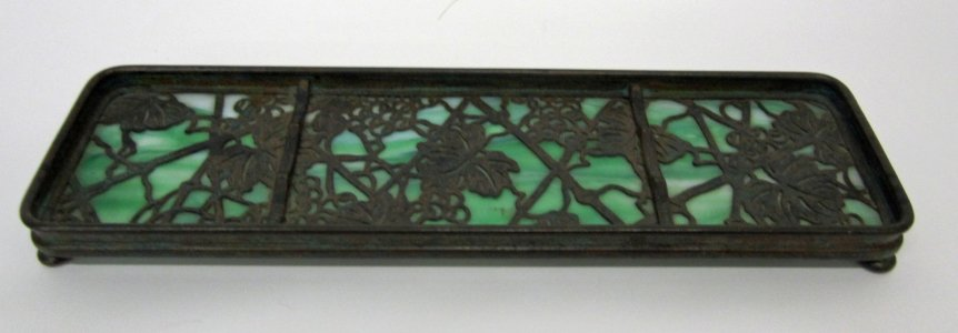 "Pen Tray in ""Etched Metal & Glass (E.M. & G.)"" Pattern"