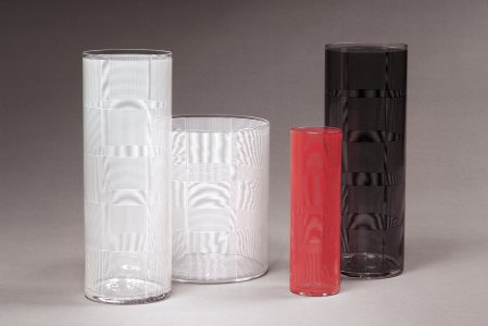 "Optical Vase in ""Moire"" Pattern"