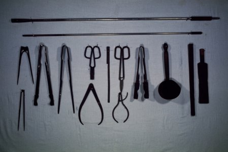 [Transparency of Dominick Labino's glassmaking tools] [slide].