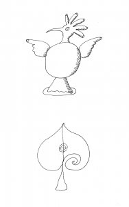 [Design drawing for bird and upside-down heart] [electronic resource].