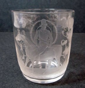Engraved Cut-down Goblet with Man on Horseback