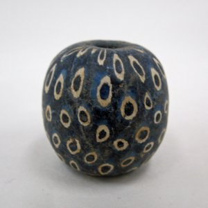 Blue Millefiori Bead with White Rings