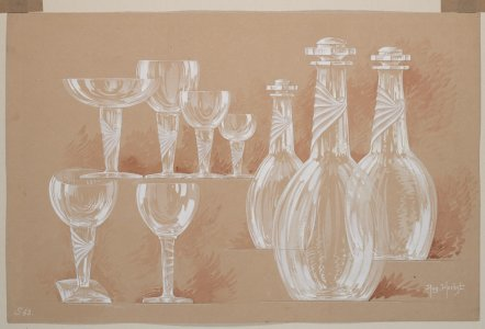 [Design drawing for decanters and goblets] [art original].