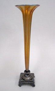 Gold Aurene Bud Vase with Metal Foot