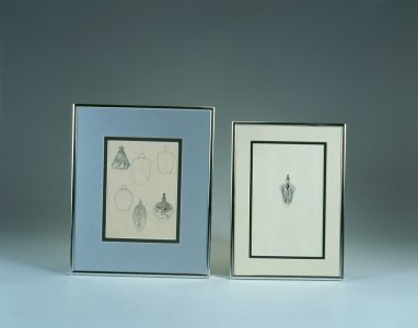 Framed design drawings by René Lalique of multiple scent bottles [transparency]
