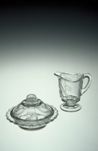 Miniature Covered Butter Dish and Creamer