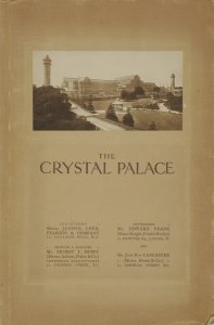 The Crystal Palace, Sydenham, to be sold by auction: pursuant to an order of the High Court of Justice, Chancery Division, with the approbation of the judge, on Tuesday 28th day of November, 1911, at the Estate Room, 20, Hanover Square, London... by Howard Frank, of Messrs. Knight, Frank & Rutley, acting in conjunction with John Roy Lancaster, of Messrs. Horne & Co., the persons appointed by the judge.