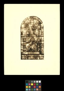 [Design for stained glass window of kneeling Sir Galahad] [photograph].