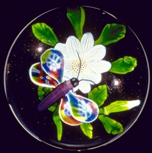 Paperweight with Butterfly on Flower