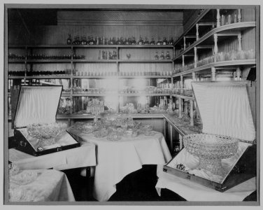Showroom of T. G. Hawkes, Corning, N. Y. [picture]: glass sent to Paris Exposition 1889.