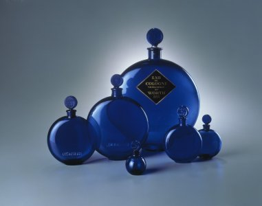 Six cobalt-blue flasks designed for Worth perfume Dans la nuit worth [transparency]