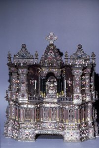 [Fully restored altar to Saint Nicholas of Bari] [slide].