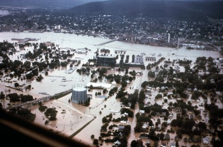 [Aerial view Corning Northside during flood] [slide].