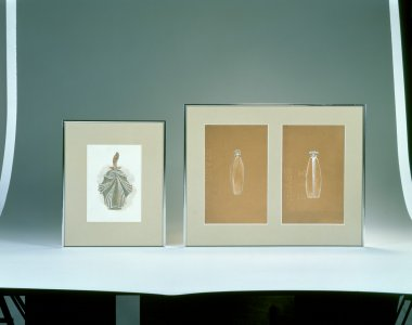 Three scent bottle design drawings by Lalique [transparency]