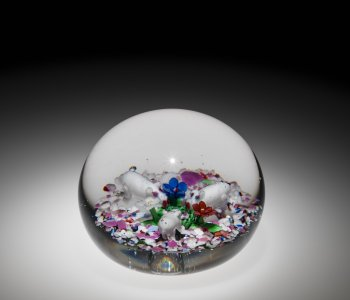 Paperweight with Pigs and Flowers