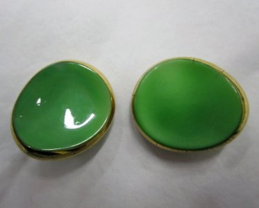 2 Green and White Gilt Buttons