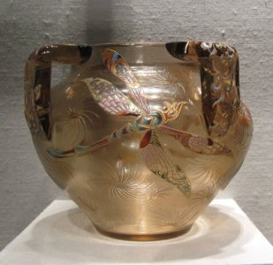Three-Handled Vase with Dragonflies