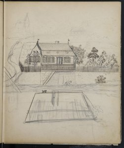 [Sketchbook, beginning with a sketch of a house and its surroundings].