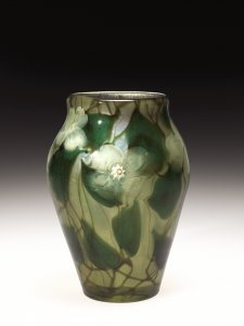 Paperweight Vase with White Flowers and Leaves