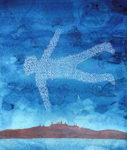 [Watercolor of flying man with body composed of white flying birds] [electronic resource].