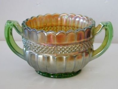 """Carnival Glass Open Sugar Bowl in """"Green Lustre Flute"""" Pattern"""