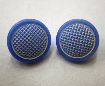 2 Blue and White Buttons
