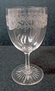 Engraved Wineglass with Band of Interlacing Zig Zag Lines