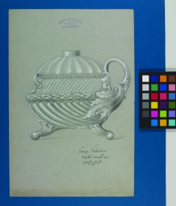 [Design drawings for two lamps mounted on blue paper] [art original].