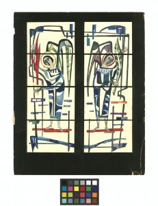 [Watercolor of stained glass window design of two angels by Peter Appleton] [art original].