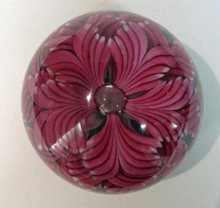 Art Glass Rare Dartington Glass Vase Pink Marble Effect With Makers Mark.