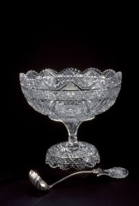 Punch Bowl with Ladle and separate Base