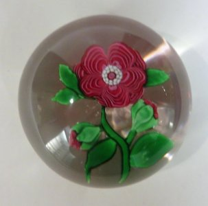 Paperweight with Red Flower