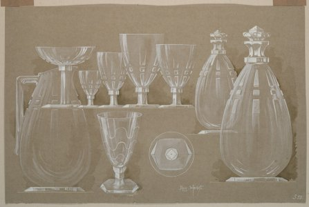 [Design drawing for decanters, pitcher, and goblets] [art original].