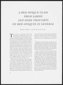 A Red Opaque Glass from Sardis and Some Thoughts on Red Opaques in General