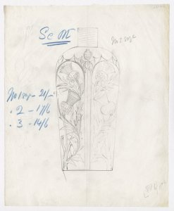 [Design drawing for scent bottle with thistle decoration] [art original].
