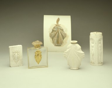 Artifacts that illustrate Lalique's process of design from drawing to model [transparency]