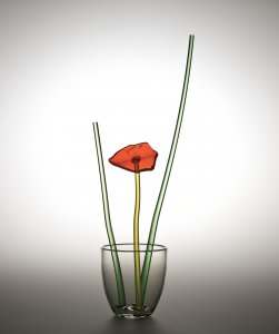 """Broken Flower"" Vase Prototype with Orange Flower"