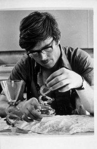 [Raymond Errett restoring a flood-damaged covered goblet] [slide].