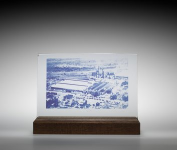 Photosensitive Glass Plaque in Wood Stand