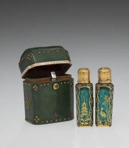 Two Miniature Scent Bottles with Gilded Decoration and Case