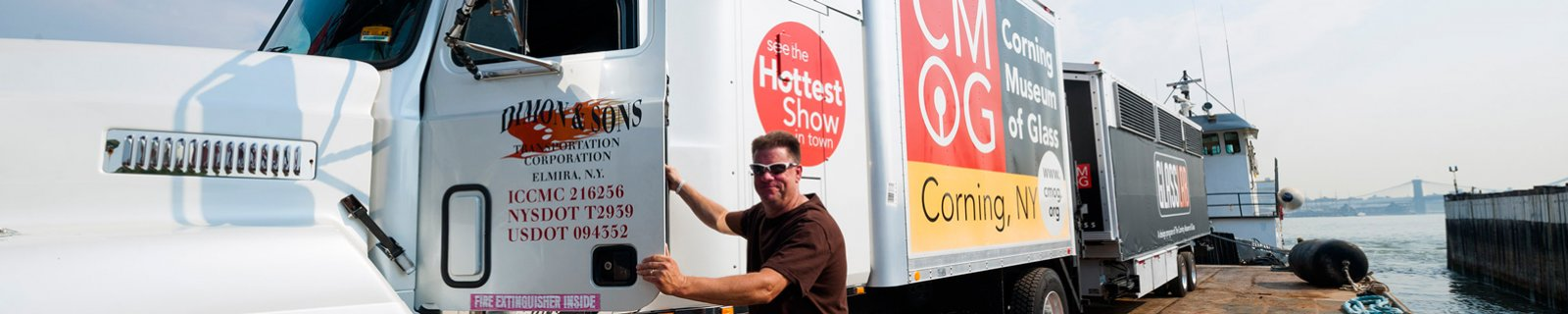 The Hot Glass Roadshow is a mobile, 28-foot-long, 35,000-lb., fully equipped, one-of-a-kind glassmaking studio and stage transported by tractor trailer. Visually spectacular, it provides great impact for visitors at the entrance to a museum or in the midst of a large event.