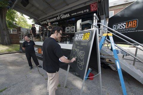 Designer Paul Sahre at GlassLab on Governors Island, July 2012