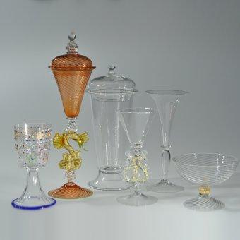 Six Venetian-style glass goblets