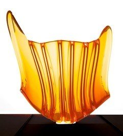 Yellow-Red ombre glass sculpture.