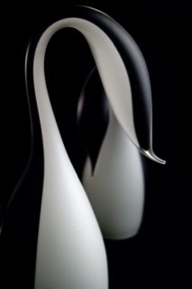 black and white blown glass sculpture