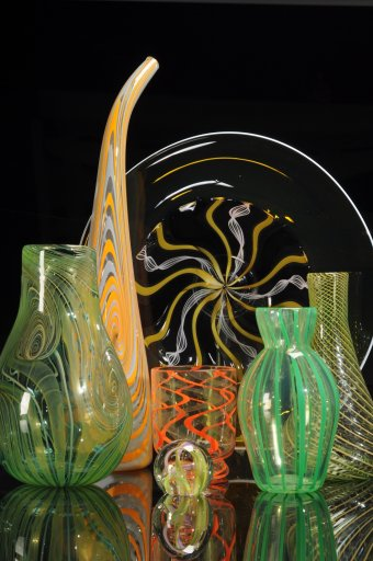 Assorted blown glass vessels by Jeremy Unterman