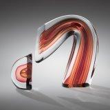 Red/Amber Sliced Descending Form by Harvey K. Littleton