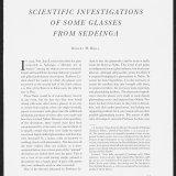 Scientific Investigations of Some Glasses from Sedeinga